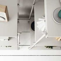 Contemporary shelf / painted steel / HPL / for kitchens