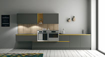 Contemporary kitchen / lacquered wood / oak / metal