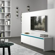 Contemporary sideboard / lacquered wood / white