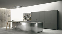 Contemporary kitchen / concrete / stainless steel / marble