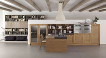 Contemporary kitchen / solid wood / island / matte