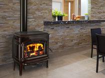 Wood heating stove / traditional / metal