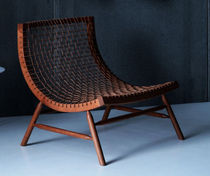 Contemporary fireside chair / leather / wooden