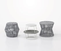 Contemporary side table / wooden / iron / round