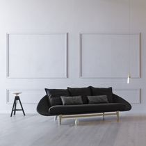 Contemporary sofa / fabric / 3-seater / black