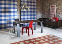 Contemporary dining table / solid wood / wood veneer / aluminum
