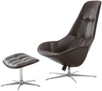Contemporary armchair / reclining / with footrest / swivel