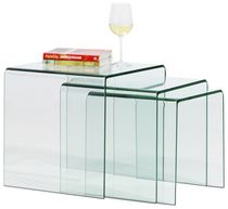 Contemporary nesting tables / glass / rectangular