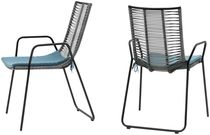 Contemporary chair / with armrests / stackable / wicker