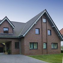 Solid brick / for facades / brown / clinker