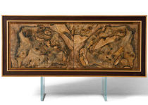 Sideboard with long legs / contemporary / walnut / glass