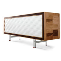 Contemporary sideboard / lacquered wood / wenge / brown