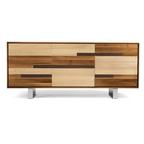 Contemporary sideboard / wooden / metal / brown