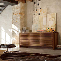 Contemporary sideboard / walnut / brown