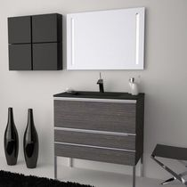 Wall-hung washbasin cabinet / laminate / contemporary / with mirror