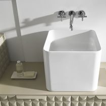 Countertop washbasin / square / porcelain / contemporary