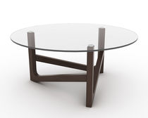Contemporary coffee table / wooden / glass / round