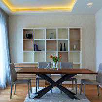 Contemporary dining table / wooden / solid wood / rectangular