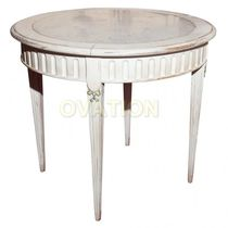 Classic table / wooden / round / on casters