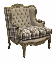 Louis XV style armchair / fabric / wing / bergere