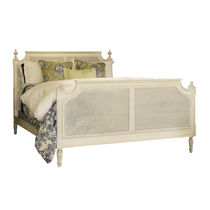 Double bed / classic / with upholstered headboard / wooden