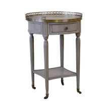 Louis XVI style side table / wooden / round / with drawer