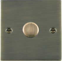 Light dimmer switch / rotating / metal / traditional