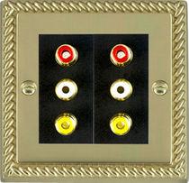 Multimedia socket / multiple / wall-mounted / metal