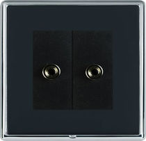 Multimedia socket / double / wall-mounted / contemporary