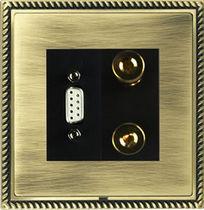 Multimedia socket / triple / wall-mounted / metal