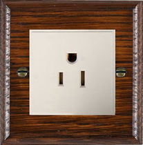 Power socket / wall-mounted / wooden / traditional