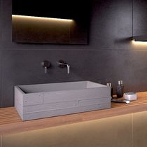 Countertop washbasin / rectangular / concrete / contemporary
