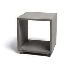 Contemporary coffee table / concrete / rectangular / on casters