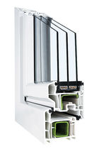 Casement window / PVC / triple-glazed / thermal break