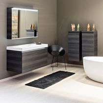 Wall-hung washbasin cabinet / oak / contemporary / with mirror