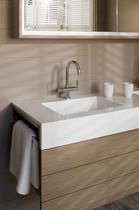 Double washbasin / countertop / rectangular / marble