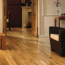 Engineered wood flooring / glued / oak / brushed