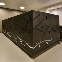 Corner reception desk / metal / illuminated