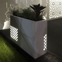Metal planter / rectangular / illuminated / contemporary
