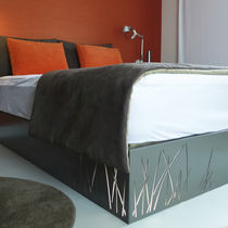 Double bed / contemporary / with lights / metal