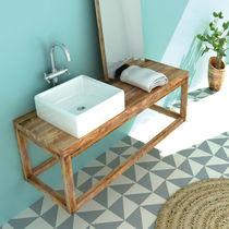 Countertop washbasin / square / ceramic / contemporary