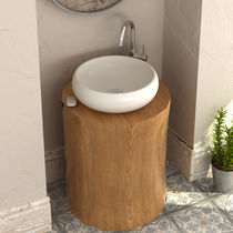 Countertop washbasin / round / stone resin / contemporary