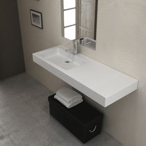 Wall-mounted washbasin / rectangular / stone resin / contemporary