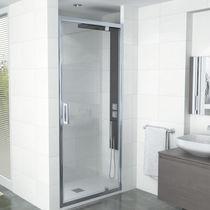 Multi-function shower cubicle / glass / aluminum / corner