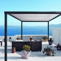 Wall-mounted pergola / aluminum / with mobile slats / bioclimatic