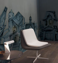 Contemporary wallpaper / nonwoven fabric / vinyl / urban motif