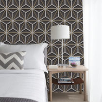 Contemporary wallpaper / fiberglass / vinyl / geometric