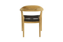 Contemporary dining chair / with armrests / fabric / teak