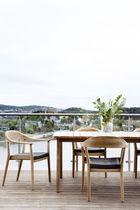 Contemporary table / teak / rectangular / extending