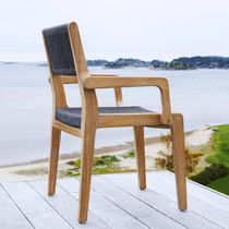 Contemporary dining chair / with armrests / teak / outdoor